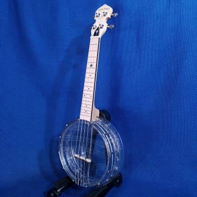 Mims Ukes:  Gold Tone Concert Little Gem Plastic Banjolele Diamond Clear Banjo Ukulele w/ Gig bag