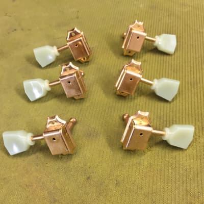Kluson Kluson Type Gold 3+3 Keystone pearloid Head tuners Gold for sale