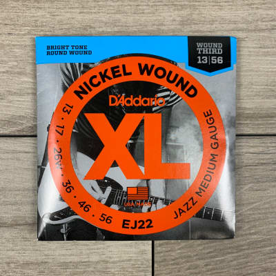 D'Addario EJ22 Nickel Wound Electric Guitar Strings, 13-56, (Wound Third) Jazz Medium Set