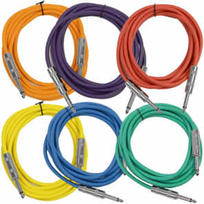 """Seismic Audio SASTSX-10BGORYP 1/4"""" TS Instrument/Patch Cable - 10' (6-Pack)"""