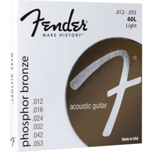 Fender Phosphor Bronze Acoustic Guitar Strings, Ball End, 60L .012-.053 Gauges for sale