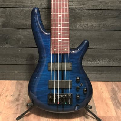 Ibanez ANB1006 Adam Nitti Signature 6 String Blue Electric Bass Guitar w/ Case for sale