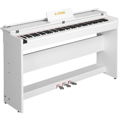 LAGRIMA Digital 88 Key Electric LCD Piano Keyboard with Stand+Adapter+3 Pedal Board White