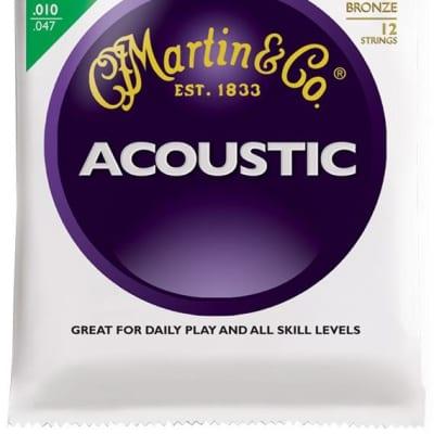 Martin 80/20 Bronze Acoustic Guitar Strings, 12 String Extra Light (10 - 47) - Set of 4